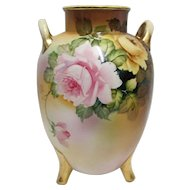 """Nippon Vase 9"""" tall Three Footed Hand Painted"""
