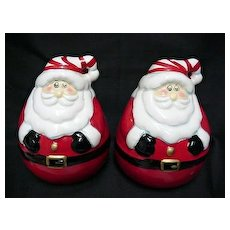 Christmas Roly Poly Santas Salt and Pepper Set