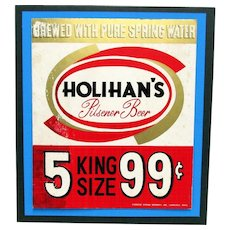 SOLD   Beer Advertising Sign Holihan's Brewery of Lawrence Mass.