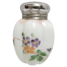 American Glass Salt Antique Shaker by Gillinder and Sons Melon Pattern Hand Painted