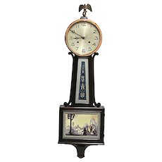 Banjo Clock Full Size Antique American  Wall Clock Completely Restored And 100% Original
