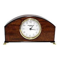 Antique Mantel Clock Inlaid Curly Mahogany Mantle Clock Runs and Keeps Time