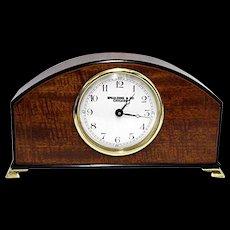 Inlaid Curly Mahogany Mantle Clock Runs and Keeps Time