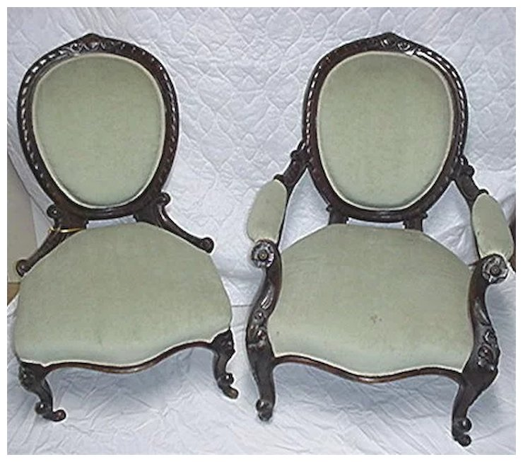 Victorian Chairs Matching Pair of Antique Ladies and Gents - Victorian Chairs Matching Pair Of Antique Ladies And Gents : Drury