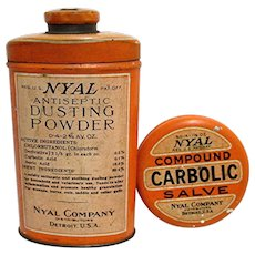 SOLD   See other items for sale    NYAL Drugstore Pharmacy Tins, Carbolic Salve and Antiseptic Dusting Powder
