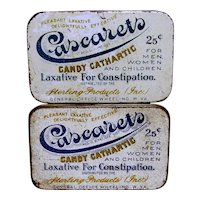 Drug Store Pharmacy Advertising Tin Two DIfferent Cascarets Candy Cathartic Laxative Tin