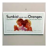 Advertising Sign For Sunkist Orange Juice Lithograph Sign