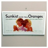 Original Lithograph Advertising Sign For Sunkist Orange Juice