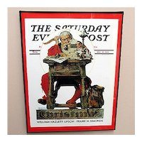 Framed Advertising Print For Norman Rockwell  Saturday Evening Post Cover Titled Santa Reading His Mail Christmas 1935