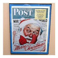 Christmas Print 1942 Advertising Framed Print for Norman Rockwell The Saturday Evening Post Cover World War 2