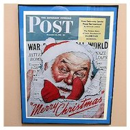 Santa Christmas Print 1942 Saturday Evening Post Cover World War 2