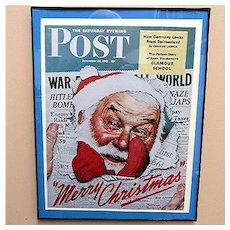 Santa Christmas Print 1942 Saturday Evening Post Cover World War 2