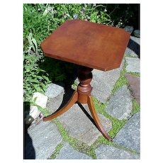 Antique Candle Stand or Table American Tiger Maple Early and Unusual
