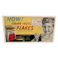 Advertising Sign Grape Nuts Flakes Cereal  Lithograph Trolley Sign REDUCED