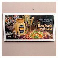 Original Advertising Trolly Sign For  Best Foods Mayonnaise Lithograph