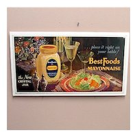 Original Advertising Sign For Best Foods Mayonnaise Lithograph Sign