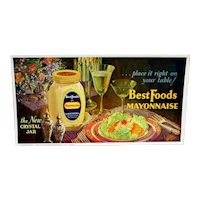 Best Foods Mayonnaise Trolley, Train, Bus, Cable Car Advertising Sign Lithograph   LAST ONE