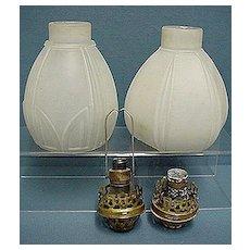 Gaslight Light Shades Matching Glass Pair Of Lamps