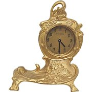 Clock by Jennings Bros. Clock Runs and Keeps Time Gold Gilt Art Nouveau