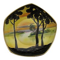 Nippon Footed Bowl Hand Painted Porcelain Gold Leafed Dish