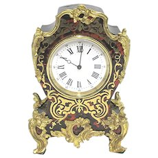 Antique Brass Mantle Clock Inlaid French Mantel Clock