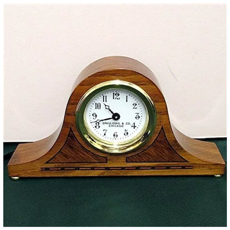 Antique Inlaid Clock For Desk Or Mantel By Spaulding Co Chicago