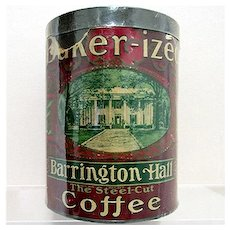 Barrington Hall Advertising Coffee Tin