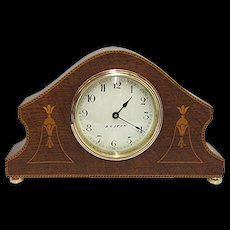 Inlaid Mantel Clock Solid Chestnut Runs and Keeps Time