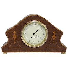 Antique Mantel Clock Inlaid French Mantle Clock Solid Chestnut Runs and Keeps Time