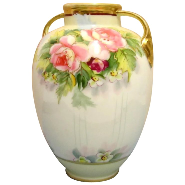 Nippon Vase With Hand Painted Peonies Drury House Antiques Ruby Lane