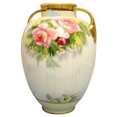 Nippon Vase with Hand Painted Peonies