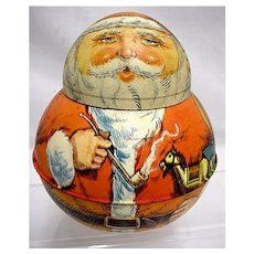 SOLD   We have others for SALE   Santa Roly Poly  Advertising Tin