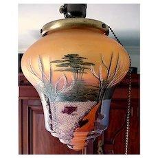 Pendant Light Hand Painted Glass Shade Ceiling Drop Light Fixture