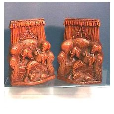 SOLD    Syroco Book Ends Matching Pair