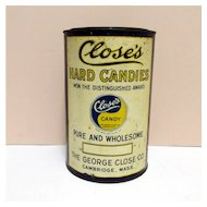 Candy Tin Close's Hard Candies Advertising Tin