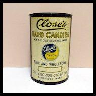 Candy Tin Close's Hard Candies Advertising Tin