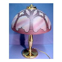 Antique Table Lamp Gothic Revival Painted Glass