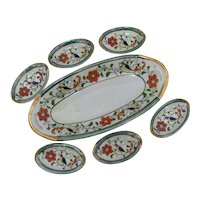 Celery Set Lusterware Porcelain Master Dish and 6 Individual Salt