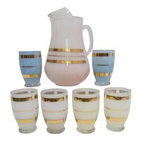 Juice Set Pitcher and Six Glasses  Complete Set No Damage