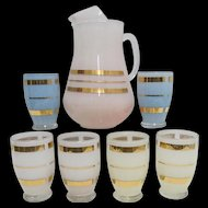 Old Juice Set Pitcher and Six Glasses No Damage