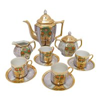 Demitasse Set Lusterware Porcelain Service for 4
