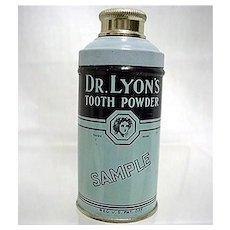 Dr. Lyons Sample Tooth Powder Advertising Tin Mint Unopened