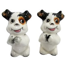 Salt and Pepper Set Standing  Dogs with Black Ears Shakers