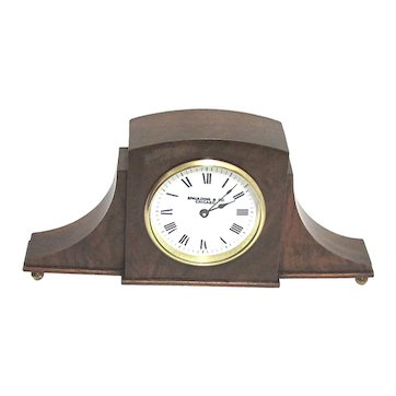 Antique French Mantle or Desk Clock Burl Walnut French