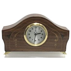 Antique Mantel Clock with Inlay for Desk or Table