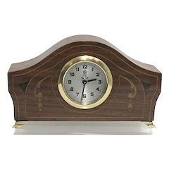 Antique Tambour Clock with Inlay for Desk or Table