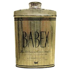 Babex Toilette Powder Talc Advertising Tin