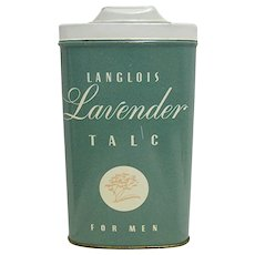 Langlois Lavender Talc for Men Advertising Tin Rexall Pharmacy Item