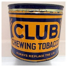 Club Chewing Tobacco Advertising Tin