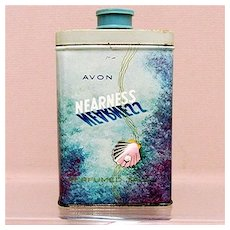 SOLD    Advertising Tin for AVON Nearness Talc